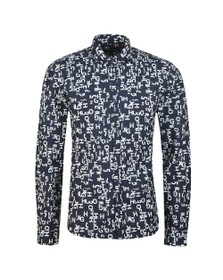 HUGO Mens Blue Ero3 patterned shirt