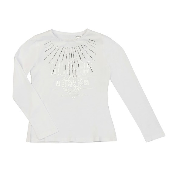 Guess Girls White Girls Diamante Logo Long Sleeve T Shirt