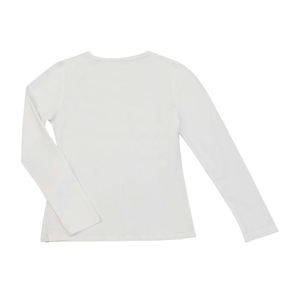Guess Girls White Girls Diamante Logo Long Sleeve T Shirt