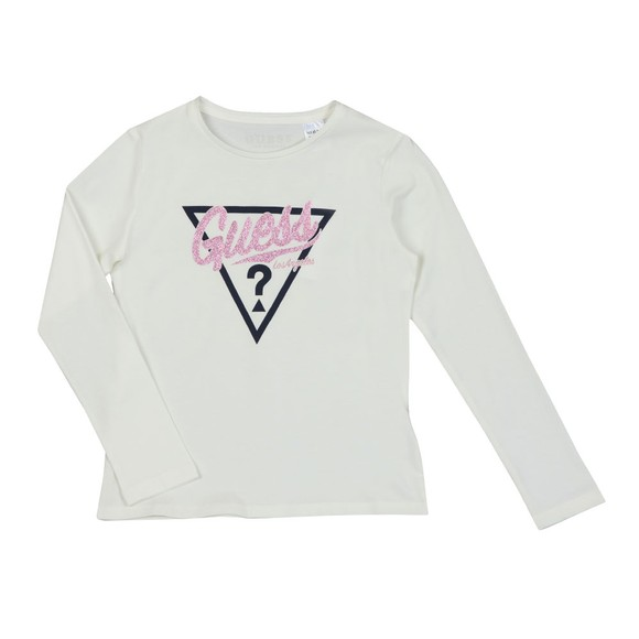 Guess Girls Off-White Glitter Logo Long Sleeve T Shirt