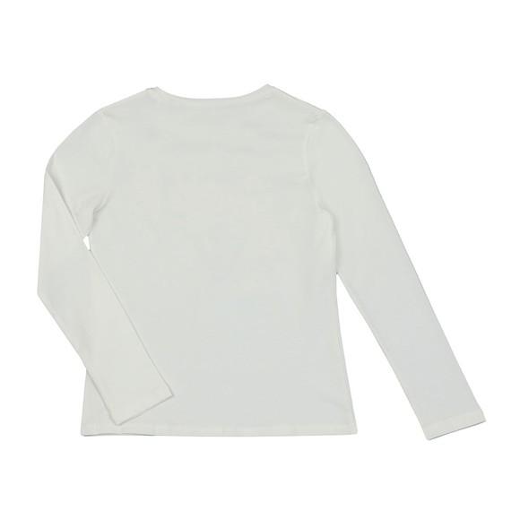 Guess Girls Off-White Glitter Logo Long Sleeve T Shirt