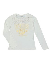 Guess Girls Off-White Girls Diamante Logo Long Sleeve T Shirt