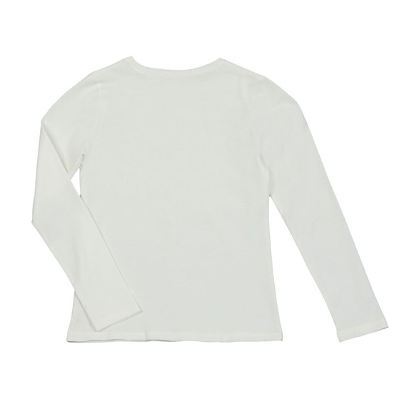 Guess Girls Off-White Girls Diamante Logo Long Sleeve T Shirt