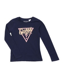 Guess Girls Blue Glitter Logo Long Sleeve T Shirt