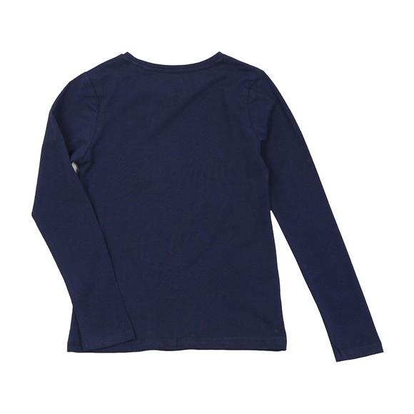 Guess Girls Blue Glitter Logo Long Sleeve T Shirt