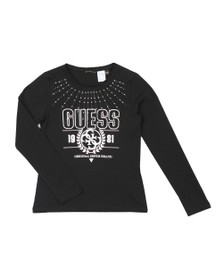 Guess Girls Black Girls Diamante Logo Long Sleeve T Shirt