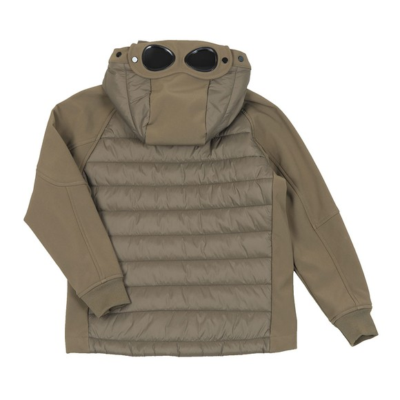 C.P. Company Undersixteen Boys Green CP Shell Mixed Fabric Goggle Jacket