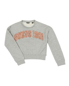 Guess Girls Grey Glitter Logo Sweatshirt