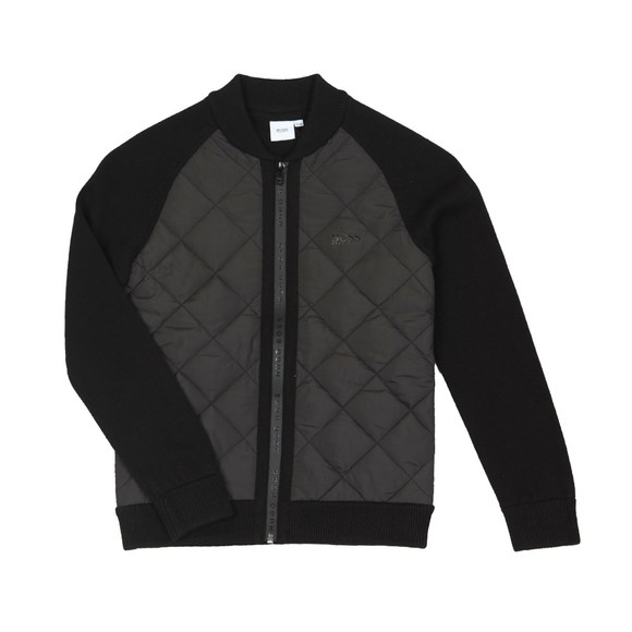 BOSS Boys Black Boys Quilted Mix Knitted Jumper main image