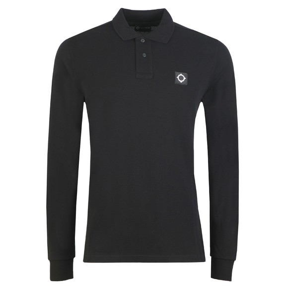 Ma.Strum Mens Black Long Sleeve Pique Polo Shirt