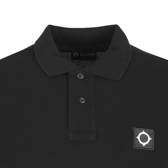 Ma.Strum Mens Black Long Sleeve Pique Polo Shirt