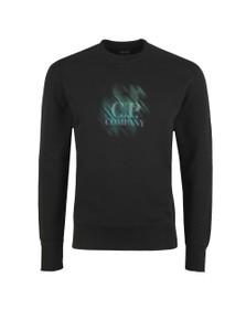 C.P. Company Mens Black Fade Logo Crew Sweatshirt