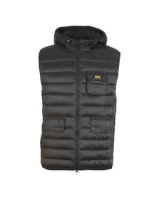 Barbour International Mens Black Ouston Hooded Gilet