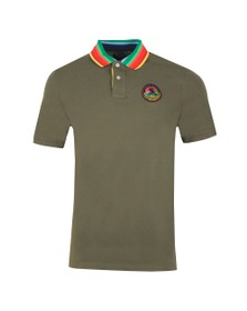 Polo Ralph Lauren Mens Green Multicoloured Collar Polo Shirt