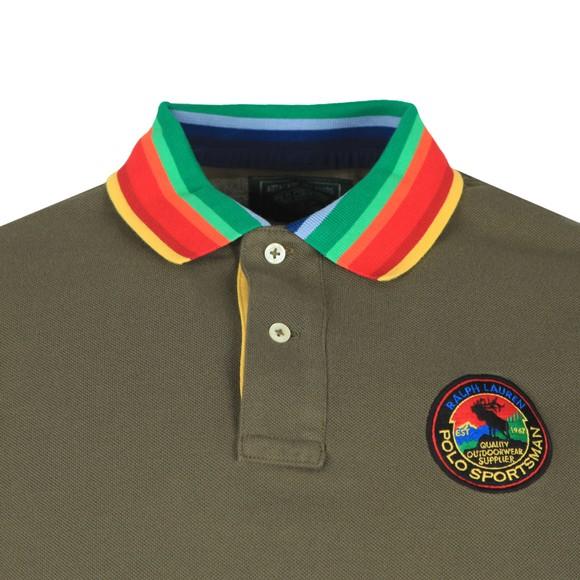Polo Ralph Lauren Mens Green Multicoloured Collar Polo Shirt