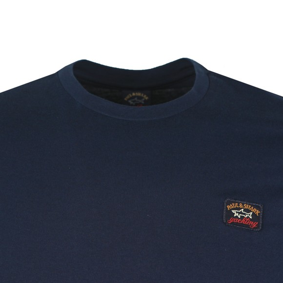 Paul & Shark Mens Blue Chest Badge Plain T-Shirt