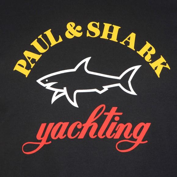 Paul & Shark Mens Black Large Chest Logo Long Sleeve T Shirt