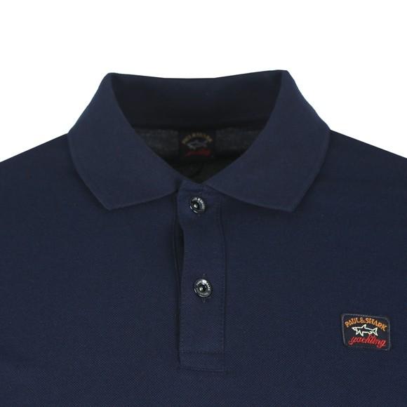 Paul & Shark Mens Blue Chest Badge Long Sleeve Polo Shirt