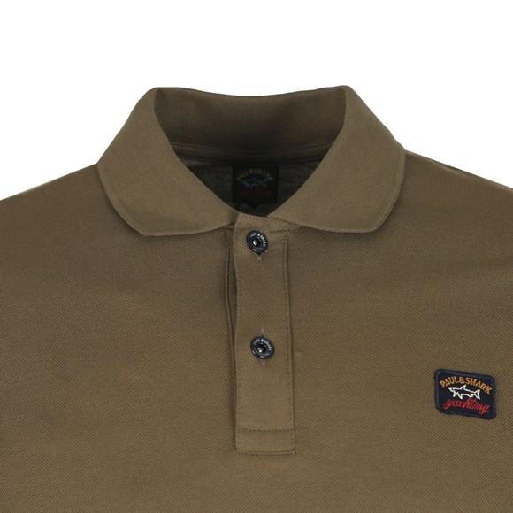 Paul & Shark Mens Green Chest Badge Long Sleeve Polo Shirt