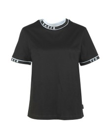 Ted Baker Womens Black Renyaz Branded Ribbed T-Shirt