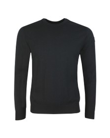 Paul & Shark Mens Black Fine Merino Wool Crew Jumper