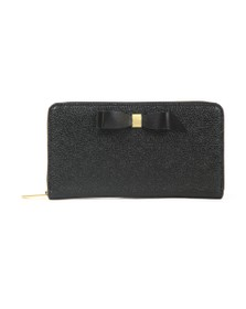 Ted Baker Womens Black Aine Bow Zip Around Matinee Purse
