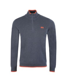 BOSS Mens Blue Athleisure Zimex Half Zip Jumper