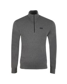 HUGO Mens Grey San Giuseppe Half Zip Jumper