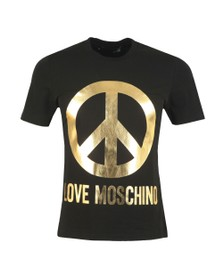 Love Moschino Mens Black Large Peace Logo T Shirt