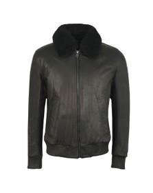 BOSS Mens Black Casual Jendar Shearling Collar Leather Jacket