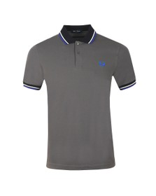 Fred Perry Mens Grey Contrast Rib Polo Shirt