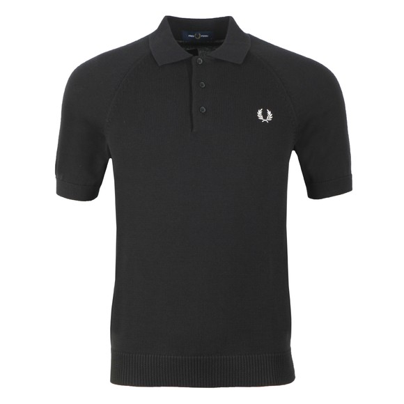 Fred Perry Mens Black Contrast Texture Knitted Polo