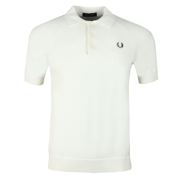 Fred Perry Mens Off-White Contrast Texture Knitted Polo main image