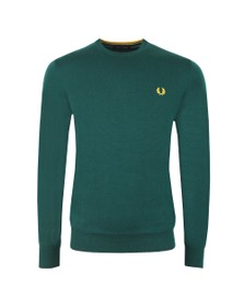 Fred Perry Mens Green Classic Merino Crew Neck Jumper