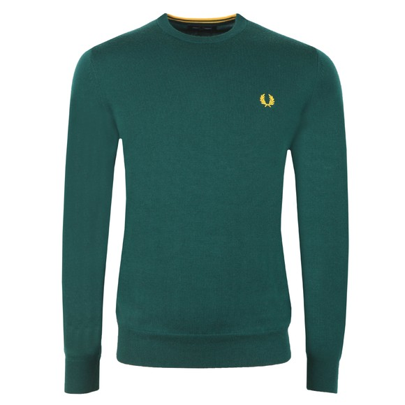 Fred Perry Mens Green Classic Merino Crew Neck Jumper main image