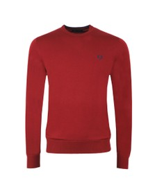 Fred Perry Mens Red Classic Merino Crew Neck Jumper