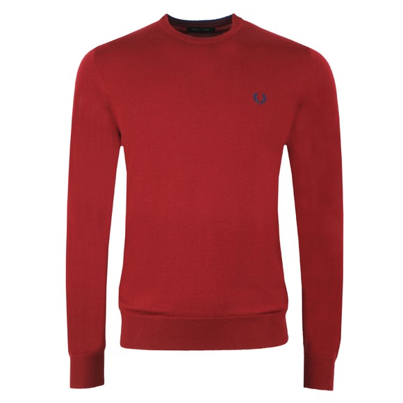 Fred Perry Mens Purple Classic Merino Crew Neck Jumper