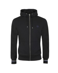 Fred Perry Mens Black Hooded Zip Through Sweatshirt