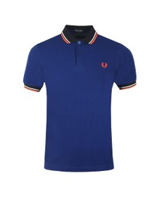 Fred Perry Mens Blue Contrast Rib Polo Shirt