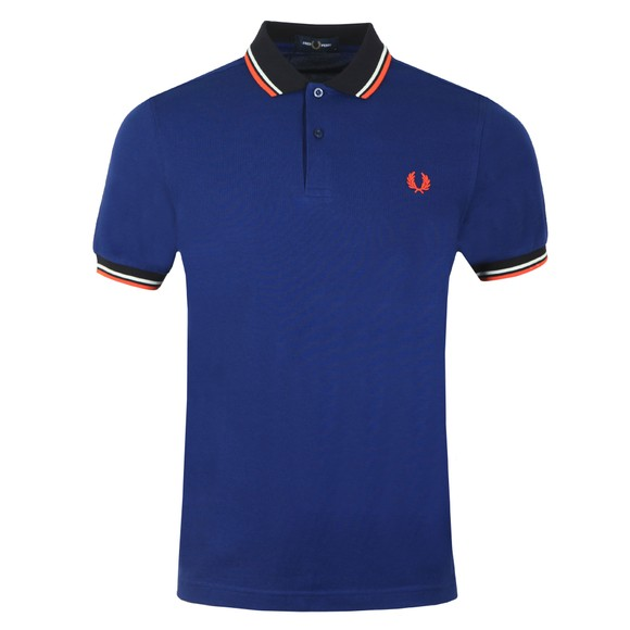 Fred Perry Mens Blue Contrast Rib Polo Shirt main image