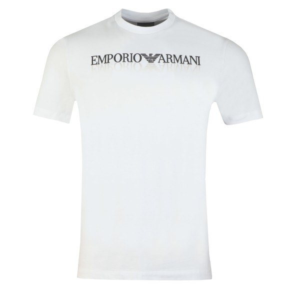 Emporio Armani Mens White Mirrored Logo T Shirt
