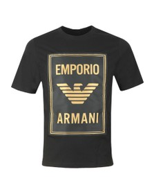 Emporio Armani Mens Black Gold Box Logo T Shirt