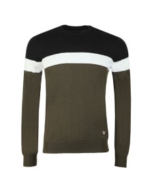 Emporio Armani Mens Green Stripe Crew Jumper