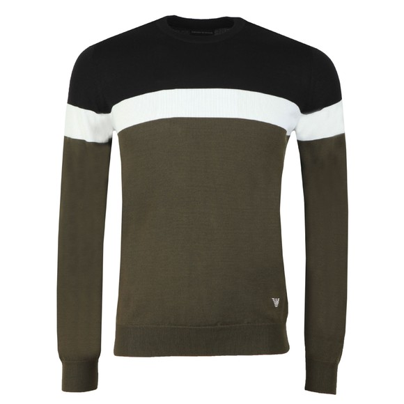 Emporio Armani Mens Green Stripe Crew Jumper main image