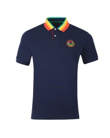 Polo Ralph Lauren Mens Blue Multicoloured Collar Polo Shirt