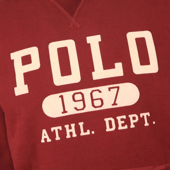 Polo Ralph Lauren Mens Red Athletic Logo Overhead Hoody