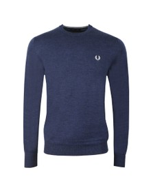 Fred Perry Mens Blue Classic Merino Crew Neck Jumper