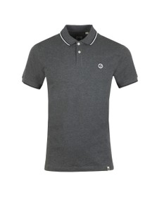Pretty Green Mens Grey Tipped Pique Polo