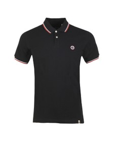 Pretty Green Mens Black Tipped Pique Polo
