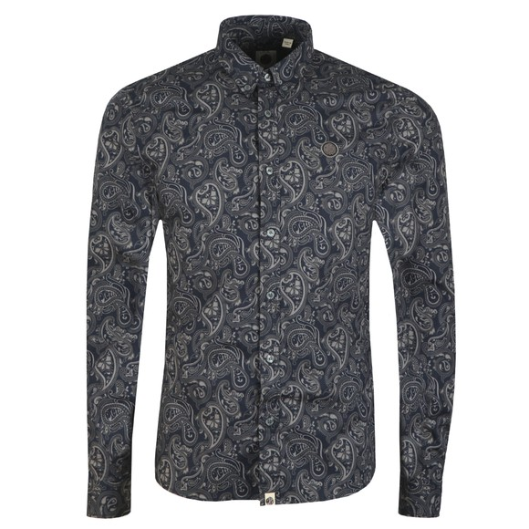 Pretty Green Mens Black Paisley Print Shirt